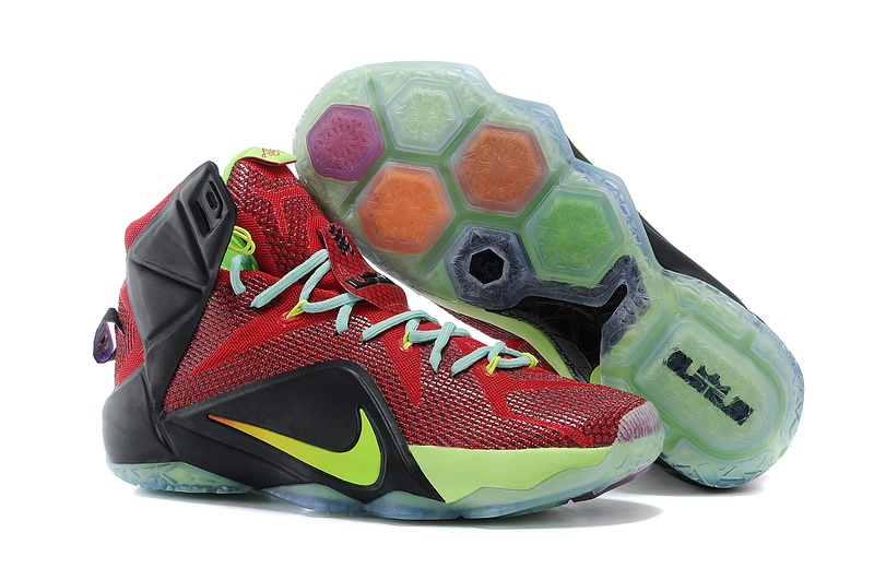 Nike Lebron James 12 Classic Red Black Green Basketball Shoes