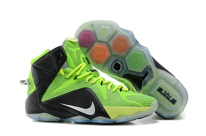 Nike Lebron James 12 Latest Green Black Basketball Shoes