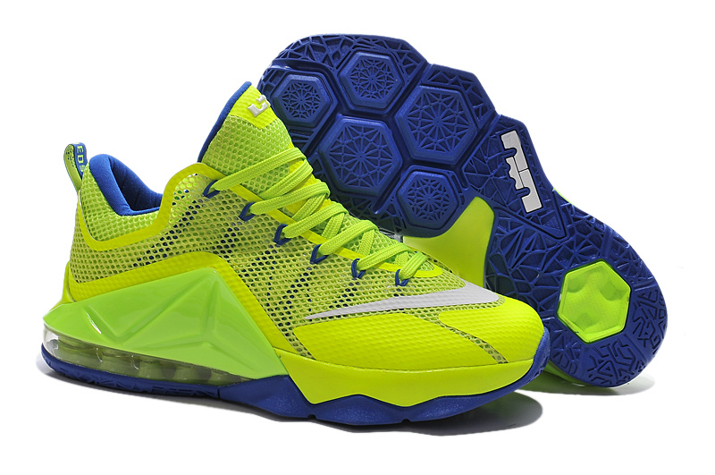 Nike Lebron James 12 Low Fluorscent Green Blue Basketball Shoes