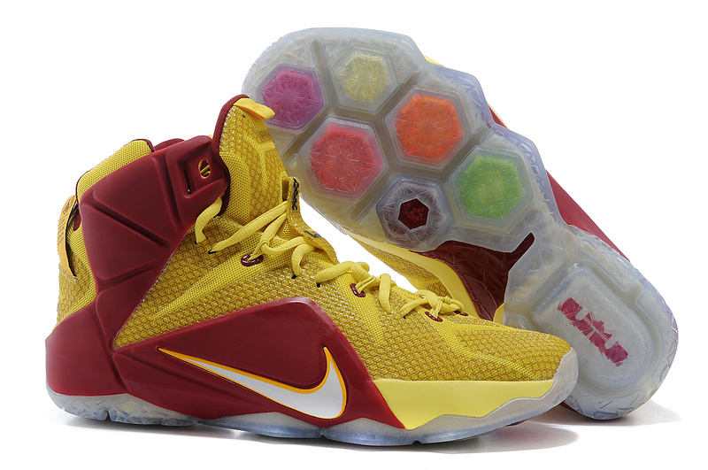 Nike Lebron James 12 Newly Blue Yellow Wine Red Shoes