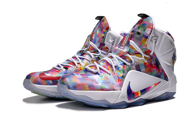 Nike Lebron 12 Rainbow White Colorful Shoes On Sale
