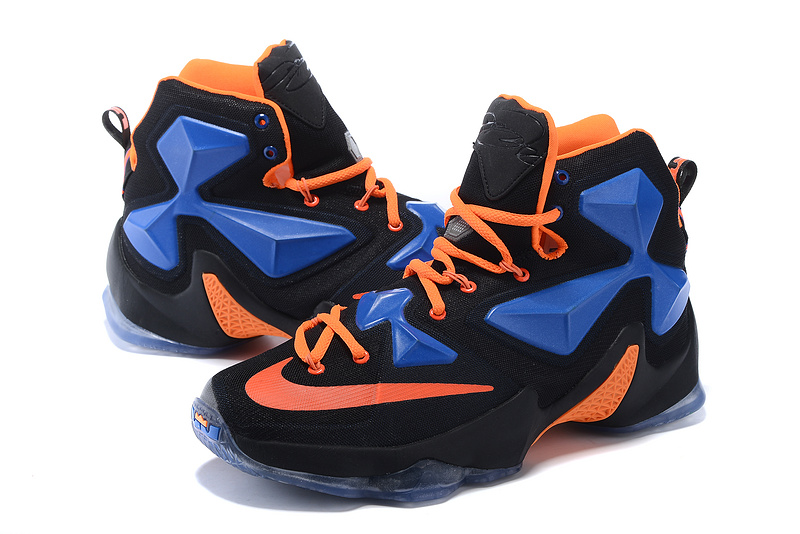New Nike Lebron 13 Black Blue Orange Shoes For Sale