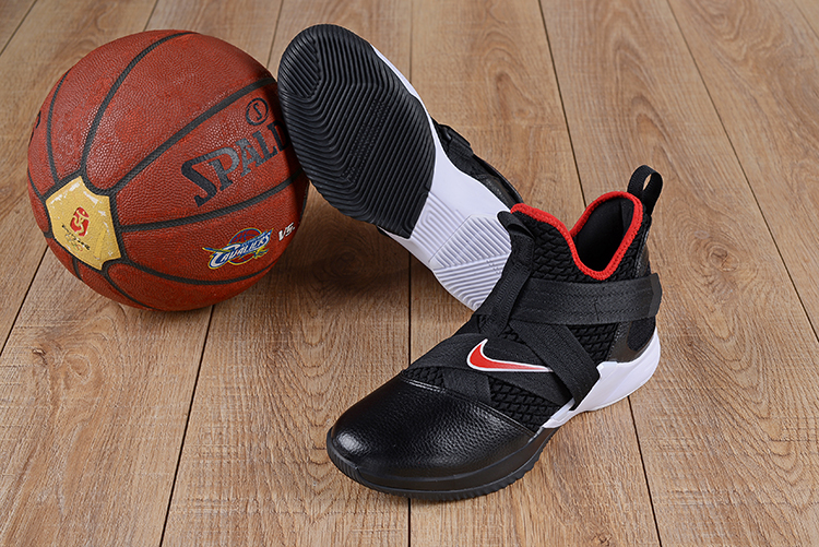 New Lebron Solider 12 Black White Red Shoes For Sale