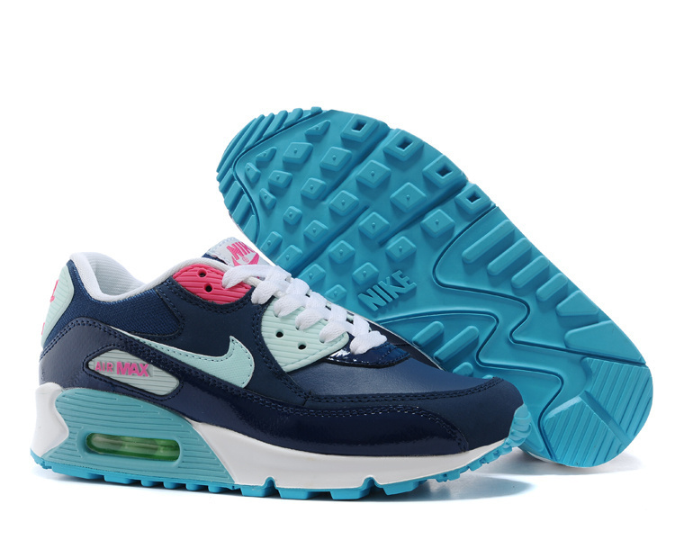 Nike Newly Air Max 90 Black Blue For Women Running Shoes