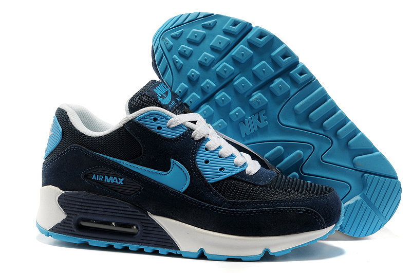 Nike Newly Air Max 90 Black Blue Men Running Shoes