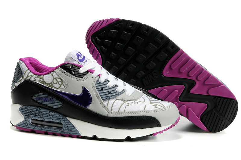 Nike Newly Air Max 90 Black Grey White Women Running Shoes