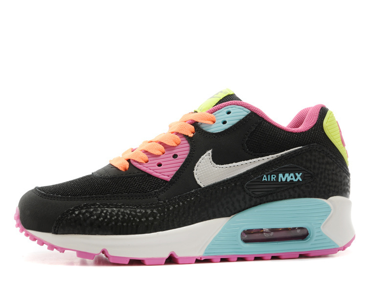 Nike Newly Air Max 90 Black Pink Blue Women Running Shoes