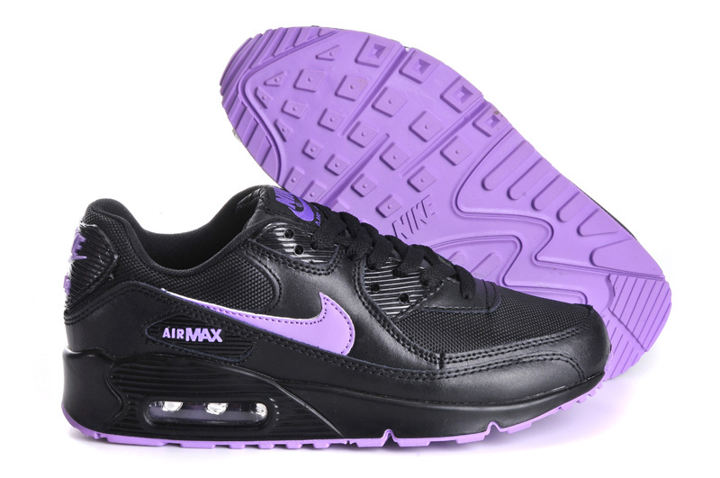 Nike Newly Air Max 90 Black Purple Women Running Shoes