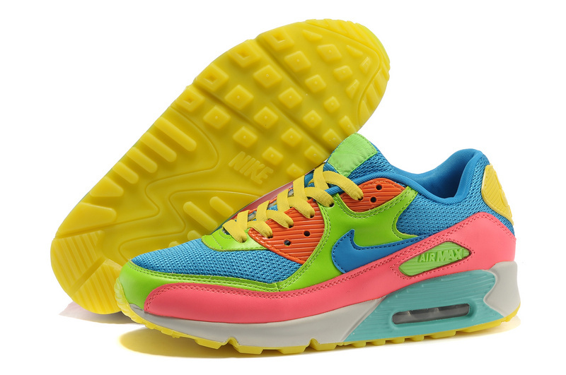 Nike Newly Air Max 90 Blue Rainbow Women Running Shoes