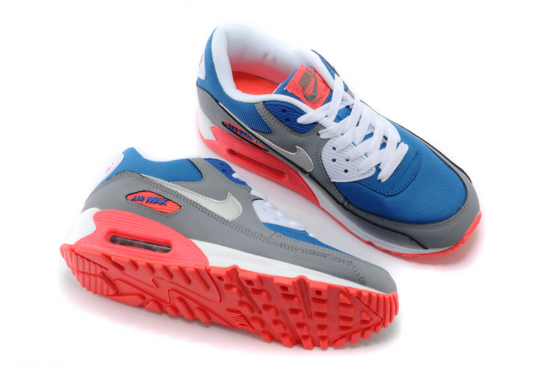 Nike Newly Air Max 90 Grey Blue Red Lovers Running Shoes