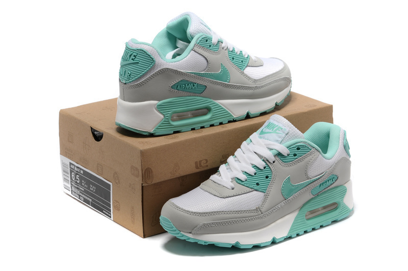 Nike Newly Air Max 90 Grey Blue Women Running Shoes