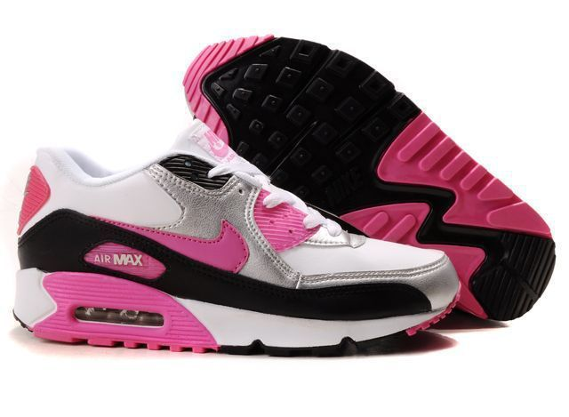 Nike Newly Air Max 90 Grey Pink Black White Women Running Shoes