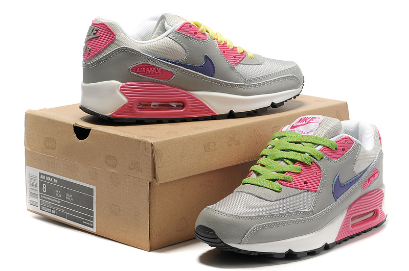Nike Newly Air Max 90 Grey Red Blue Women Running Shoes