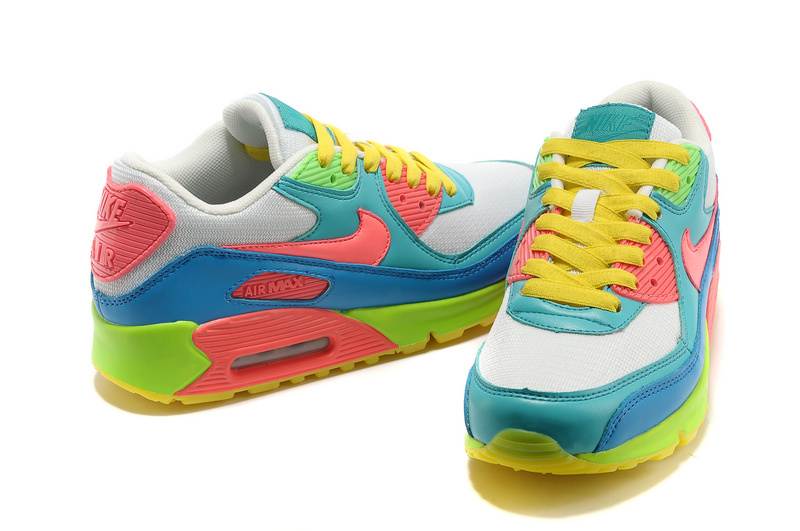 Nike Newly Air Max 90 Light Blue Rainbow Women Running Shoes