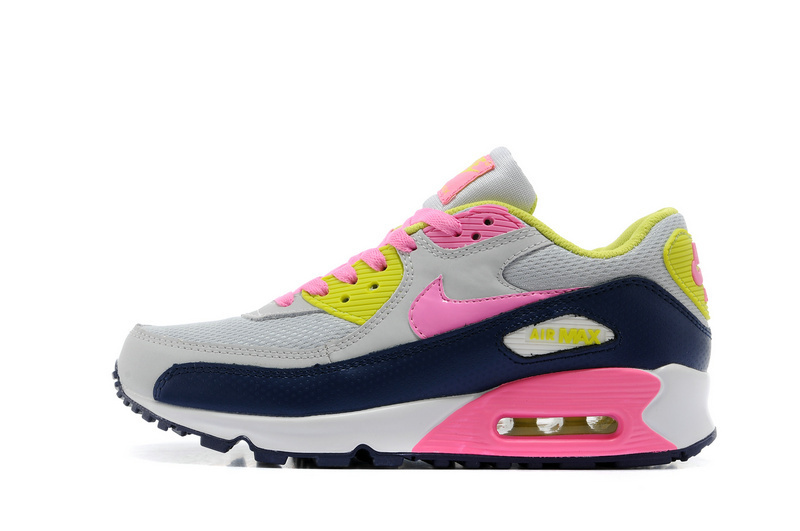 Nike-Newly Air Max 90 Pink Grey Black Women Running Shoes
