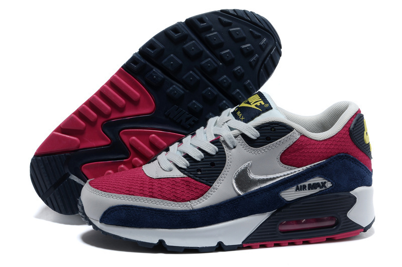 Nike Newly Air Max 90 Red Black Grey Men Running Shoes