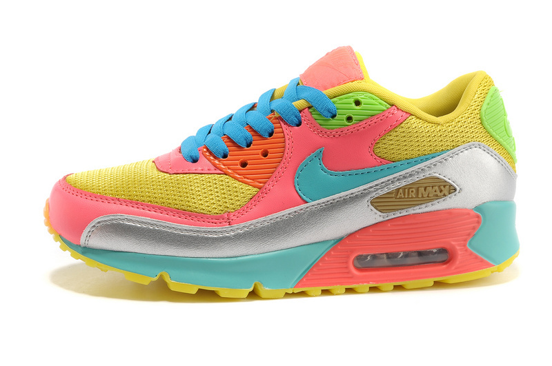 Nike Newly Air Max 90 Red Yellow Blue Rainbow Women Running Shoes
