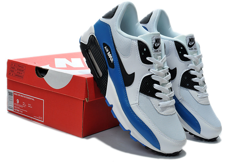 Nike Newly Air Max 90 White Blue Black Men Running Shoes