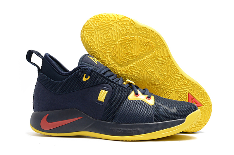 New Nike Paul George 2 Dark Blue Yellow Shoes For Sale