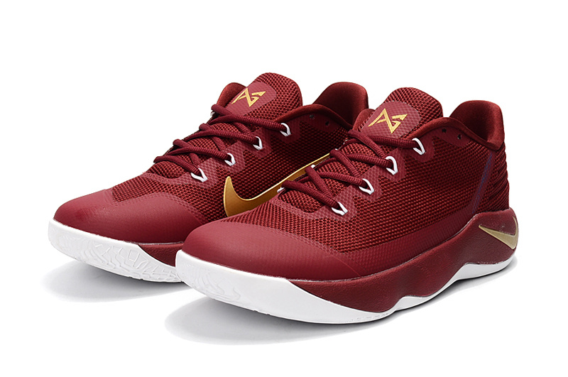 Nike Paul George 2 Wine Red Gloden Shoes
