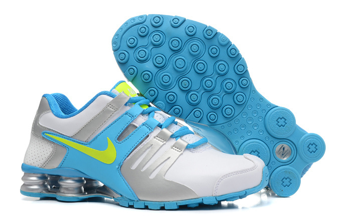 Nike Shox Current White Sliver Blue Green Women Shoes