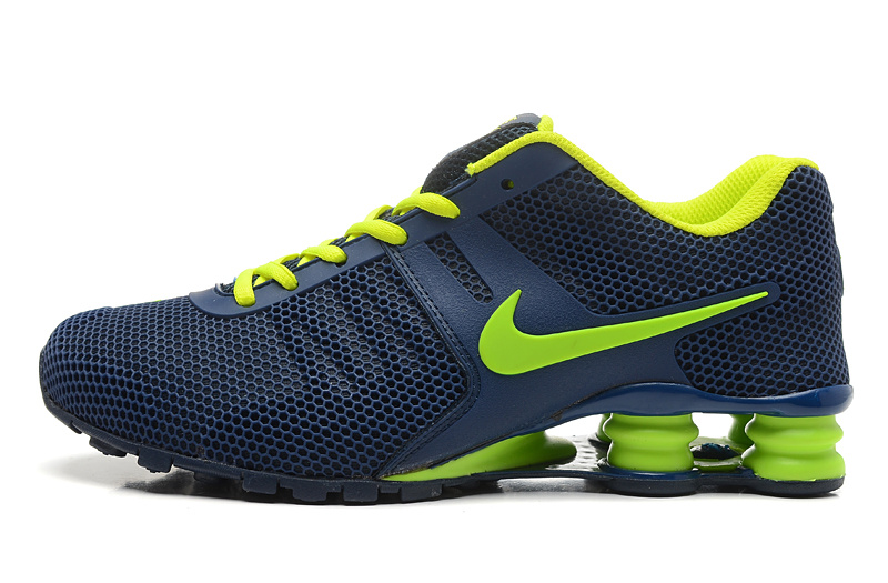 Nike Shox Dark Blue Flourescent Green Women Shoes