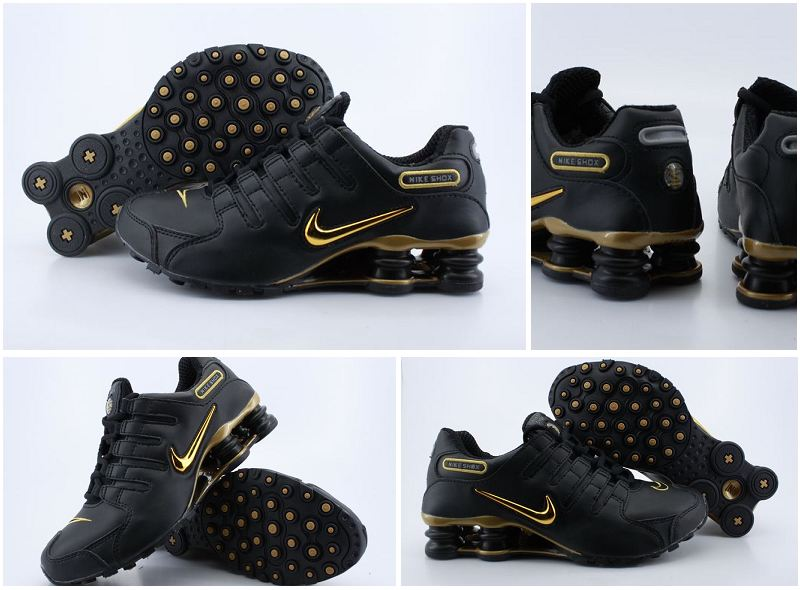 Nike Shox NZ Black Gold Logo Shoes