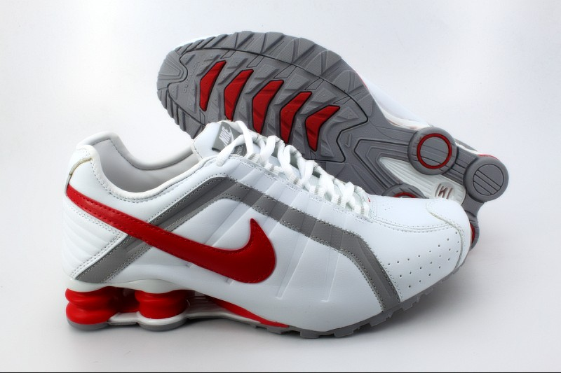 Nike Shox R4 M White Grey Red Logo Shoes