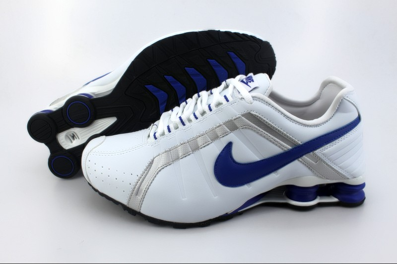 Nike Shox R4 M White Sliver Blue Logo Shoes