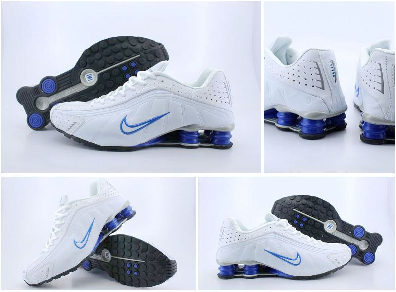 Nike Shox R4 White Blue Shoes