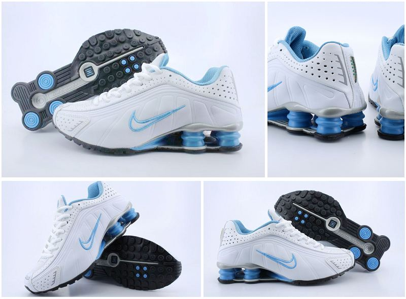 Nike Shox R4 White Blue Women Shoes