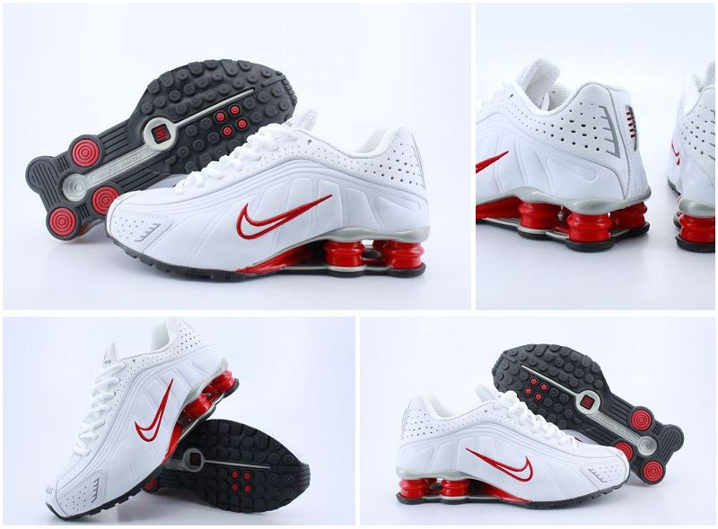 Nike Shox R4 White Red Shoes