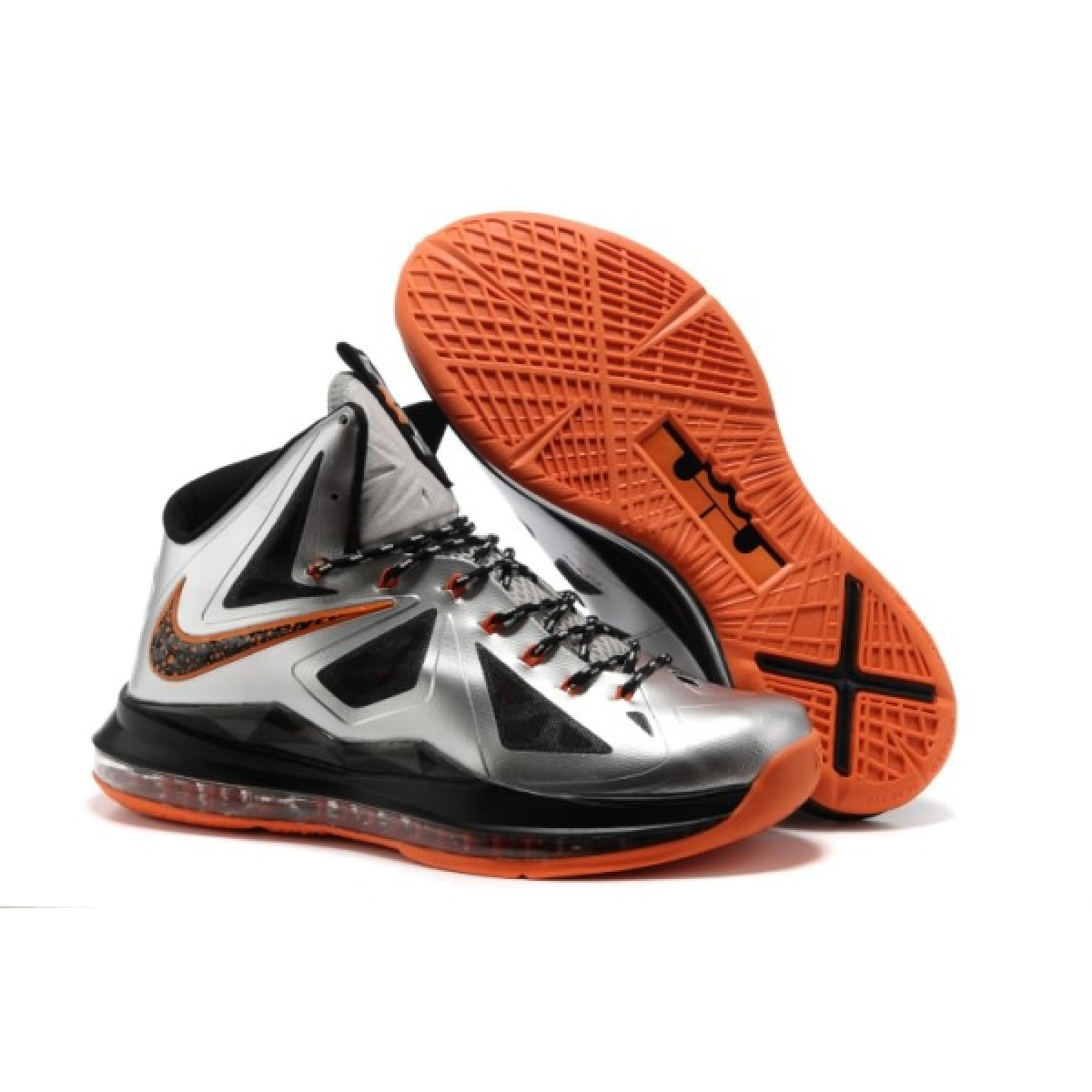 Nike Lebron 10 Silver Black Orange Shoes For Sale