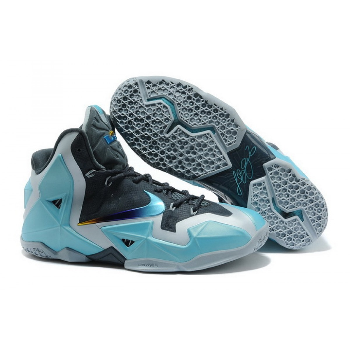 Nike Lebron 11 Grey Black Blue China Warriors Shoes