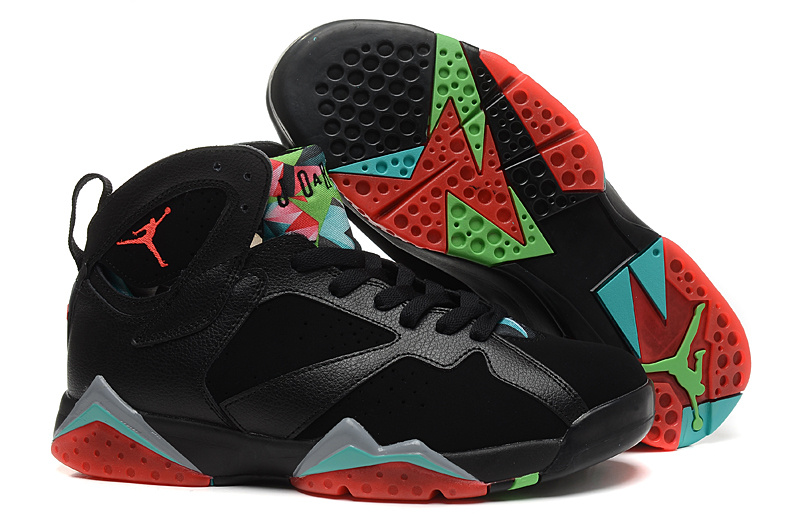 Original Jordans 7 Black Red Green Retro Sneaker
