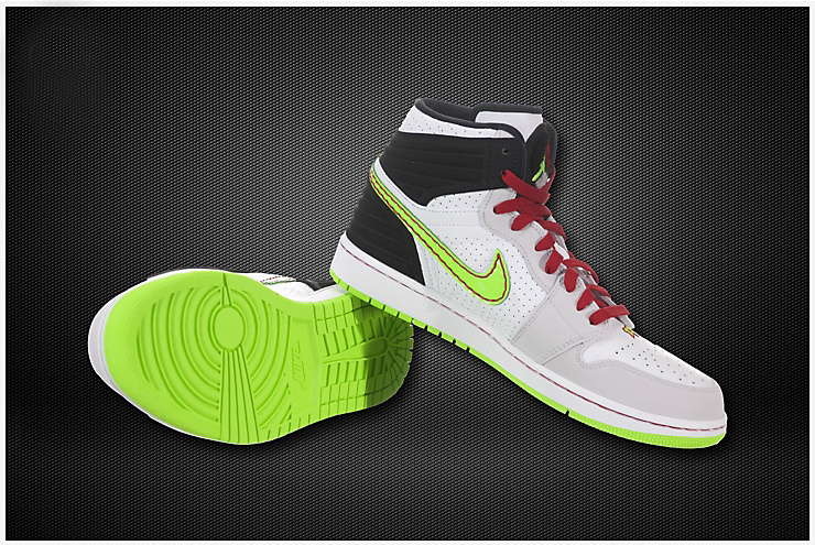 New Jordan 1 Retro White Grey Green Shoes With Inserted Cushion