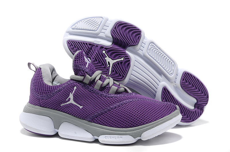 Original Air Jordan Running Shoes New Purple Grey White For Women