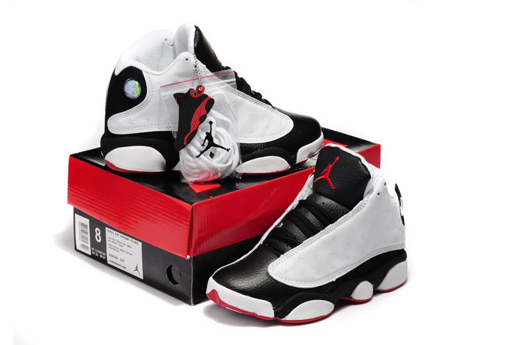 Original Air Jordans 13 Hardback Retro White Black Red