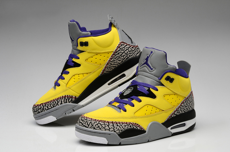 Original Air Jordans Spizike Retro Yellow Grey Cement Black