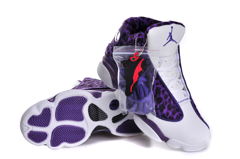 Original Cheetah Print Air Jordan 13 Retro White Purple For Women