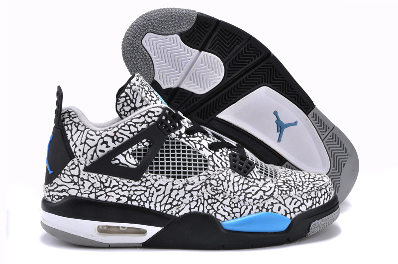 Original Cheetah Print Jordan 4 Classic White Black Blue