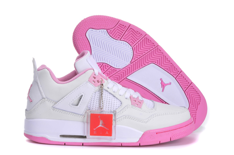 Original Jordan 4 Retro White Pink Shoes For Women