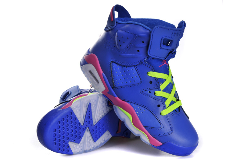 Original Jordan 6 Retro Blue Pink Grey For Women