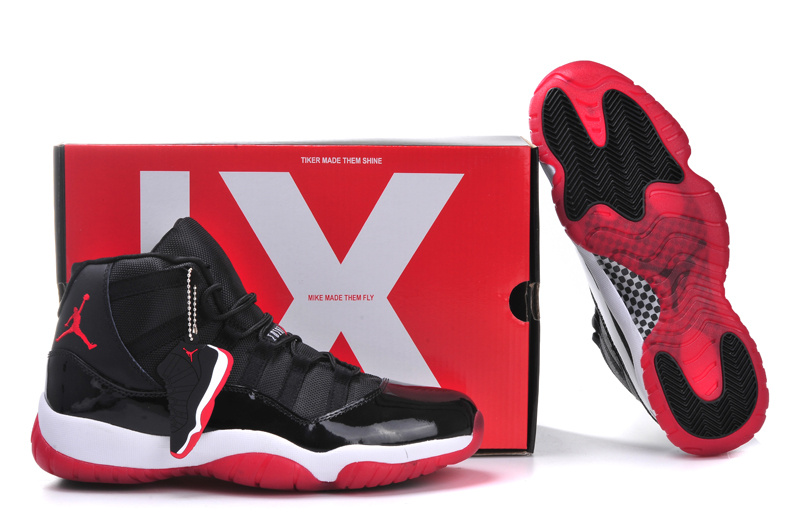 Original Jordans 11 Retro Black White Red With Air Cushion