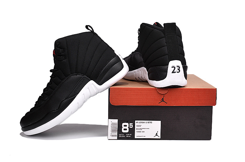 Original Jordans 12 2016 Black Nylon Black White Shoes