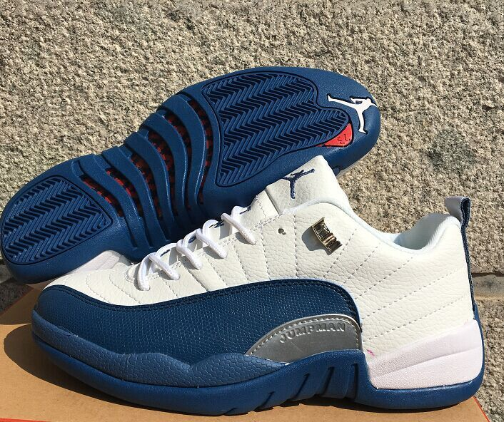 Original Jordans 12 Low White French Blue Shoes