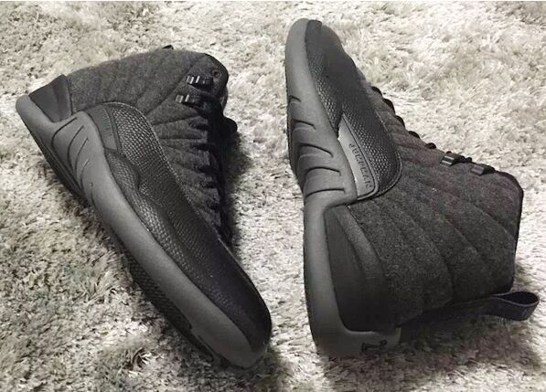 Original Jordans 12 Wool All Black Shoes