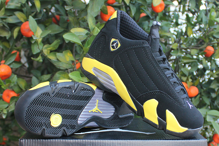 Original Jordans 14 Black Yellow Shoes