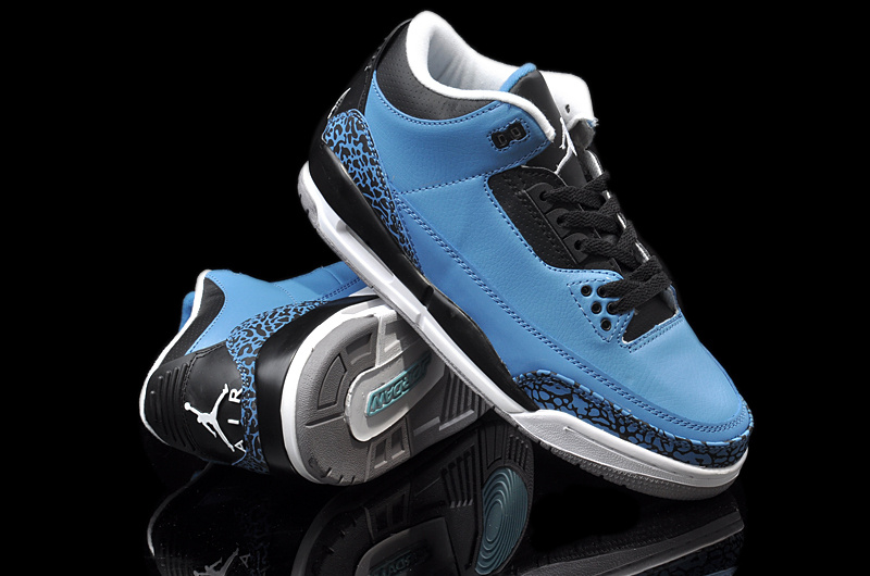Original Jordans 3 Newest Blue Black White