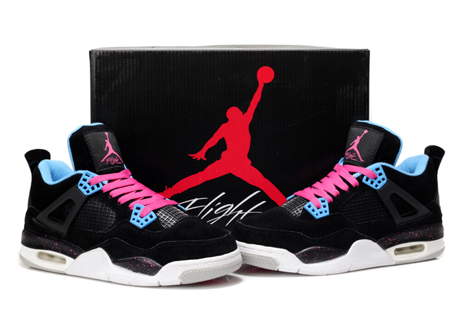 Original Jordans 4 Retro Black White Pink For Women